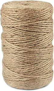 HQDeal Jute Twine Heavy Duty 6Ply Natural Thick Garden Twine Packing String Rope for Floristry, Gifts, DIY Arts&Crafts, Decoration, Bundling, Plants 3mm 328ft