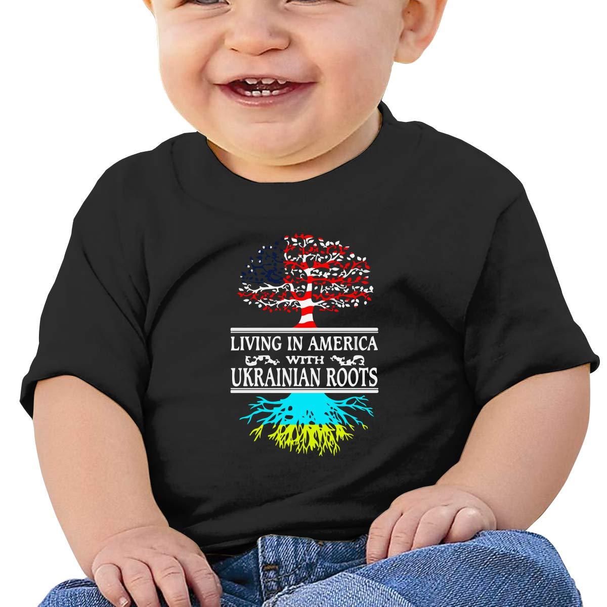 Living in America Ukrainian Roots Baby Boys Girls Short Sleeve Crew Neck T-Shirt 6-18 Month Tops