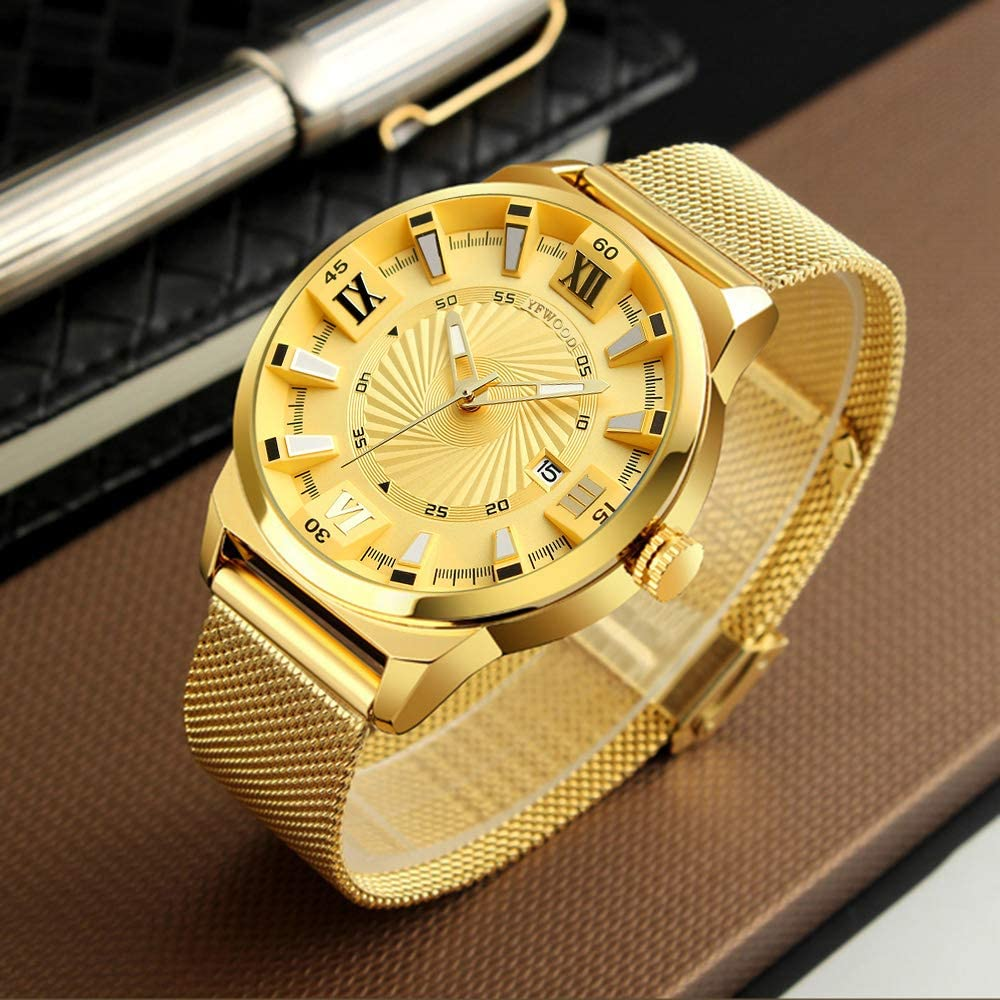 Quartz Watch, Mens Watch Simple Fashion Luxury Wrist for Men Ultra Thin Business Dress Casual Waterproof Quartz Wristwatch with Stainless Steel Mesh Band