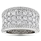 Ladies 14K Rose, White or Yellow Gold Iced Out Pave Diamond Ring 3.9ctw G-H Color by Luxurman