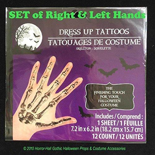 Realistic Gothic SKELETON HAND BONES Temporary Fake Tattoos Adult Costume Makeup