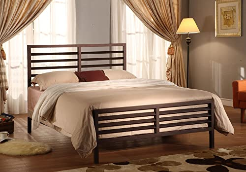 Kings Brand Furniture Bronze Metal Annabella Collection Bed Headboard Footboard Rails Slats Queen
