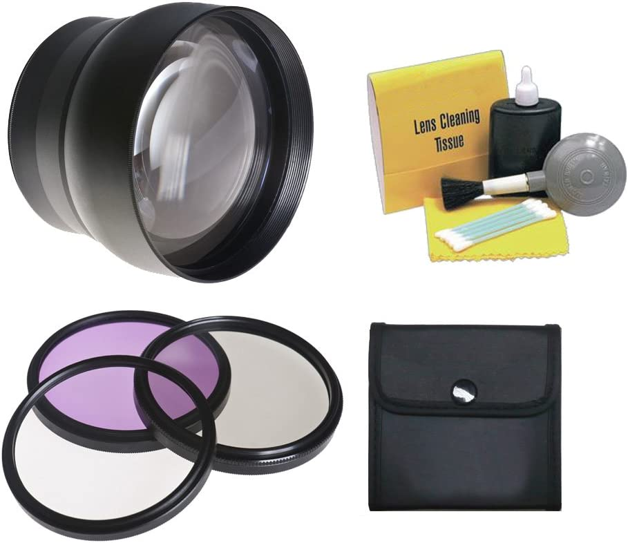 + 74mm 3 Piece Filter Kit 74mm 2.2x Super Telephoto Lens Stronger Alternative To Sony VCL-DH1774 Polarizer /& Fluorescent Nwv Direct 5 Piece Cleaning Kit Includes Ultraviolet Stepping Rings