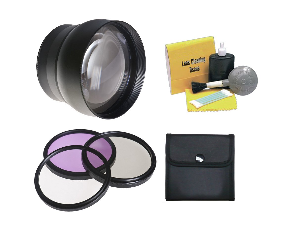 58mm 2.2X Super Telephoto Lens (Stronger Alternative to Canon TC-DC58D) + 58mm 3 Piece Filter Kit, Includes Ultraviolet, Polarizer & Fluorescent + Nwv Direct 5 Piece Cleaning Kit by Optics Nc