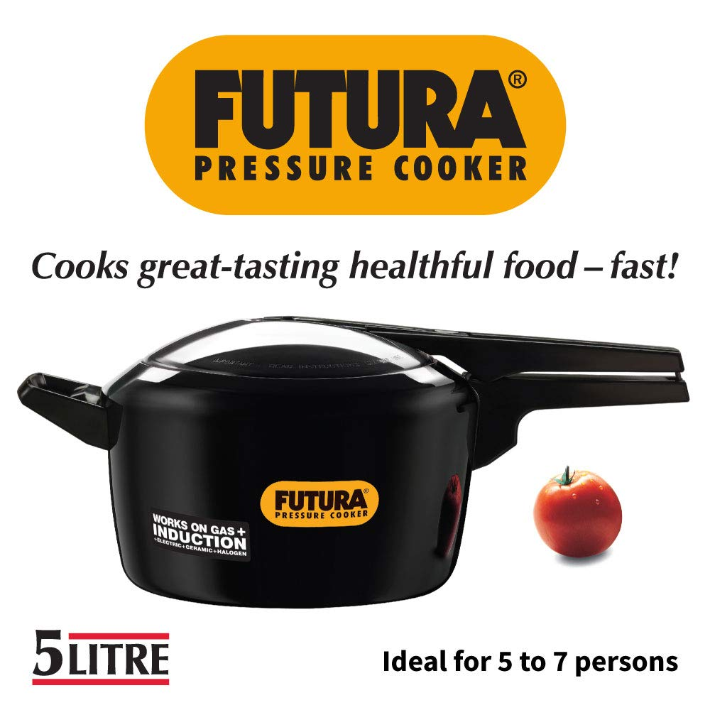 Futura 5-Litre Hard Anodized Induction Compatible Pressure Cooker, Small, Black