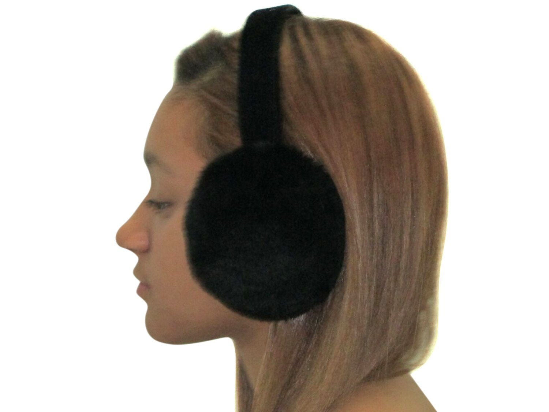 Black Sheared Mink Ear Muffs