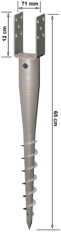 4 Stück Krinner U-FIX 71 Bodendübel 71mm Schraubfundament Bodenanker Bodenhülse