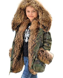 dafe3a8f440 Aofur Children Girls Boys Faux Fur Parka Camo Army Jacket Winter Coat  Thicken Warm Lining Hoodies