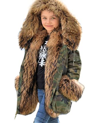 9b59b8673 Amazon.com  Aofur Children Girls Boys Faux Fur Parka Camo Army ...