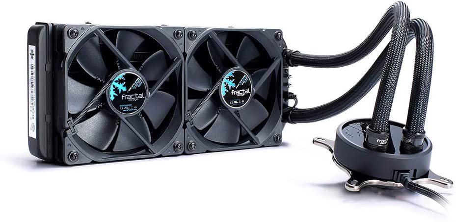 "Fractal Design Celsius S24-240 mm Radiator - Silent Liquid CPU Cooler - PWM - Intelligent Controls - 2X Fractal Design Dynamic X2 PWM GP-12 120Mm Silent Fans Included - 1/4"" Fitting - Blackout"