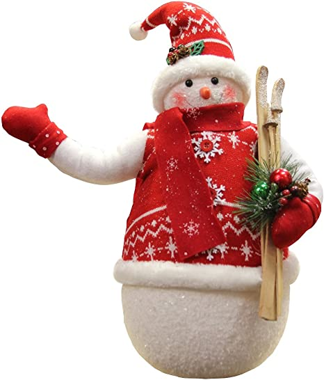Amazon Com Northlight Alpine Chic Sparkling Snowman With Nordic Style Santa Hat And Skis Christmas Decoration 20 Home Kitchen
