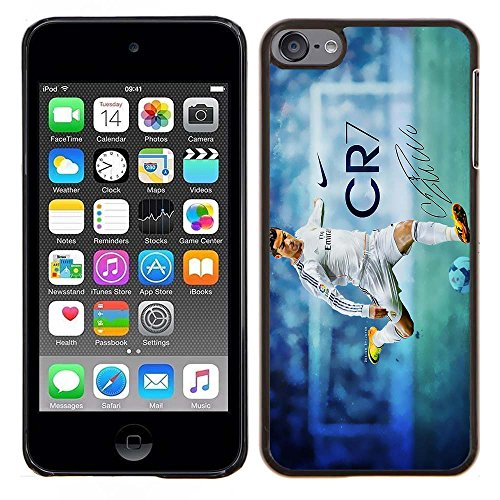 iPod Touch 5 Case, iPod Touch 6 Cases, Real Madrid CF MVP Cristiano Ronaldo 42 Drop Protection Never Fade Anti Slip Scratchproof Black Hard Plastic Case