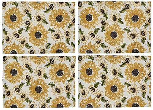 Park Designs Rustic Golden Sunflowers Placemats Set of 4 Cotton Kitchen or Dining