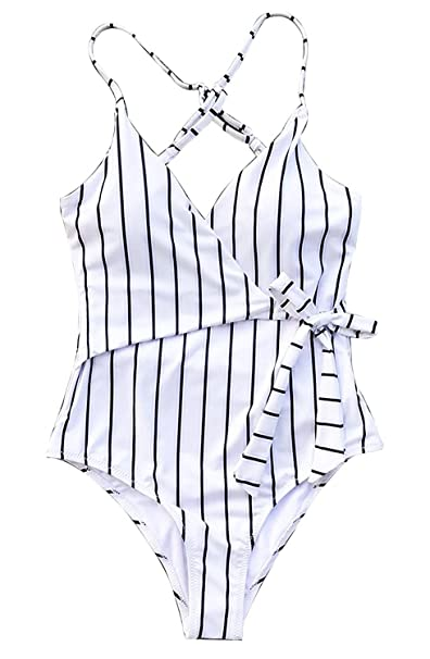 74f6f23507 MuQing Women's One Piece Stripe Swimsuit Stay Young Bathing Suit 2-4,White  Stripe