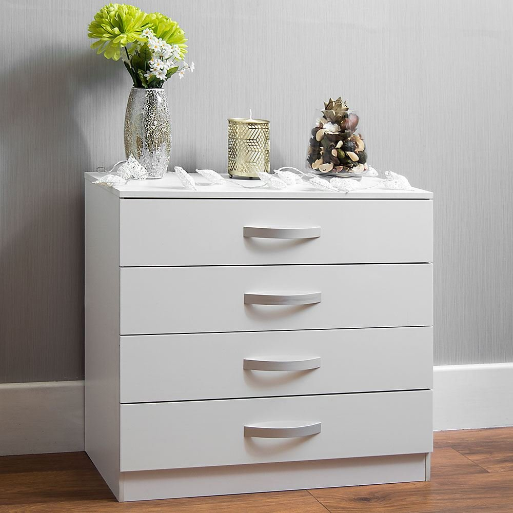 Home Discount Hulio High Gloss Commode Blanc, 4tiroirs avec poignées en métal et Coureurs, Unique Anti-Bowing tiroir Support, Meubles de Chambre à Coucher