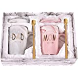 Dad and Mom Marble Coffee Mug Set Est 2020 New Mom and Dad Mug Gifts for New and Expecting Parents to Be Coffee Cup 14…
