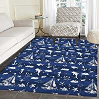Navy Blue Rugs for Bedroom Sailboat Vertical Stripe Pattern Anchor Fishes Gulls Paint Effect Nautical Theme Circle Rugs for Living Room 3x5 Blue White