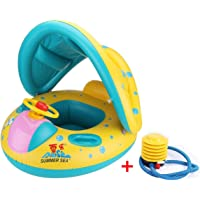 Vercrown Inflatable Baby Pool Float Swimming Ring Baby Seat Boat Yacht with Sunshade and Air Pump Safty for Age 6-36 months Toddler Children