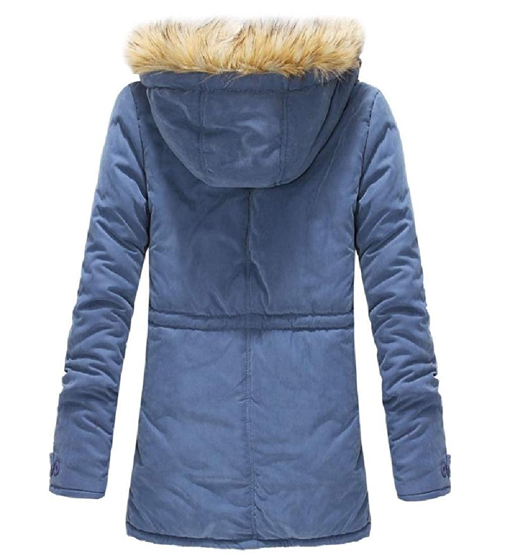 Sebaby Mens Fleece Winter Mid-Long with Faux Fur Hood Warm Down Coat