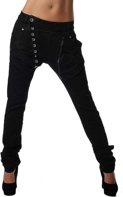 Crazy Age Boyfriend Baggy Pantalones vaqueros con botones estrechos y cremallera C 613