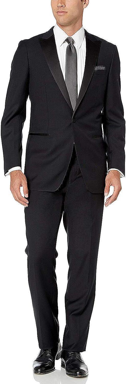 LONDON FOG Mens 100/% Wool Single Breasted One Button Peak Lapel Tuxedo Suit Set