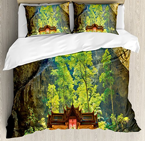 Natural Cave Decorations Duvet Cover Set by Ambesonne, Latent Pavilion in Between the Cliffs Discovery of Faith in the Nature Art Picture, 3 Piece Bedding Set with Pillow Shams, Queen / Full, Multi by Ambesonne