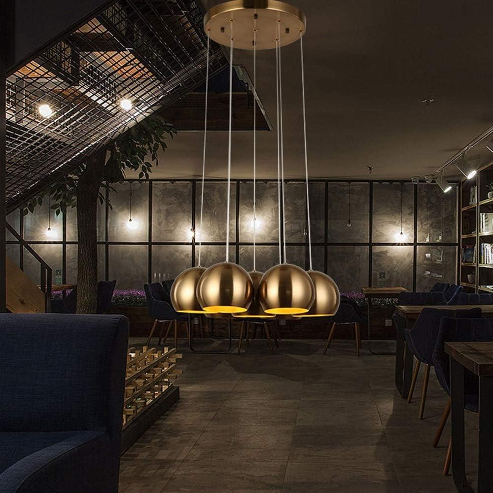ETH Brown Nordic Retro Restaurant Chandelier Personalidad Creativa Chapado Bola De Hierro Forjado Decoración De Bronce Tienda De Ropa Cafe Lamps 50 * 150CM Vistoso