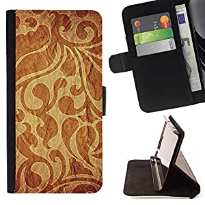DEVIL CASE - FOR Samsung Galaxy S5 Mini, SM-G800 - Wallpaper Pattern Textile Fabric Design Brown - Style PU Leather Case Wallet Flip Stand Flap Closure Cover