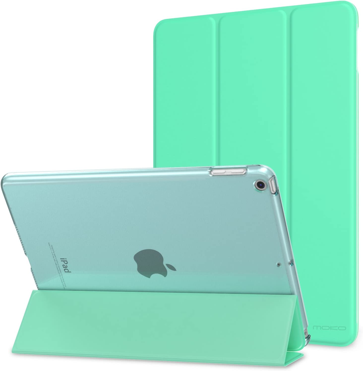 MoKo Case Fit 2018/2017 iPad 9.7 6th/5th Generation - Slim Lightweight Smart Shell Stand Cover with Translucent Frosted Back Protector Fit iPad 9.7 Inch 2018/2017, Mint Green (Auto Wake/Sleep)