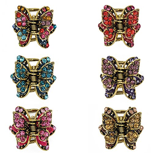 Yeshan Vintage Butterfly Design Hair Jaw Claw Clips Hair Pins Hair Barrettes Clamps Hair Accessories for Women and Girls,Pack of 6