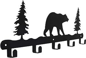 Metal Wall Mounted Coat Hook Rack 17-Inch 5 Hooks Home Key Ring Organizer Hat Holder Clothes Rack Bath Towel Hook Black Bear Pattern