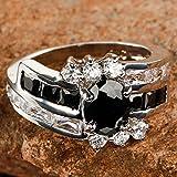 Delicate Oval Cut Black Spinel & White Topaz Gemstone Silver Ring Size 7 8 9 10#by pimchanok shop (9)
