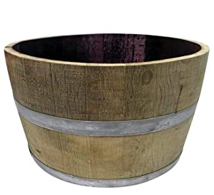 "MGP Genuine Oak Wood Half Wine Barrel Planter, 27"" W x 16"" H"