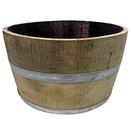 Mgp Genuine Oak Wood Half Wine Barrel Planter 27 W X 16 H