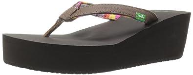 Sanuk Women's Springwater Wedge Flip Flop,Brown,11 ...
