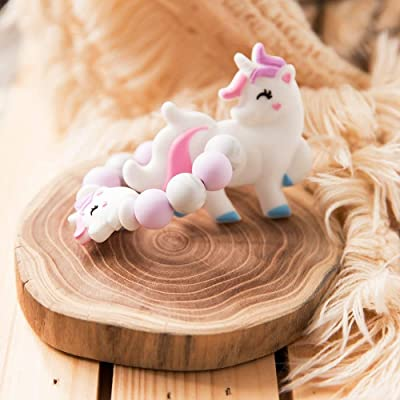 Baby Teether Silicon Chewable Beads Lovely Rainbow Unicorn Nursing Bracelet Food Grade Materials Baby-Wearing Accessory: Toys & Games