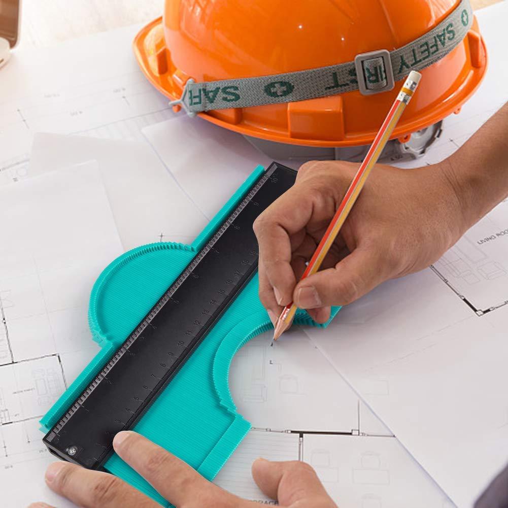 TERRA TU medidor de contorno Duplicador Regla de duplicador Herramienta de marcado /útil para tubos de bobinado Marcos circulares Conductos Madera Herramientas de marcaje Green 254mm