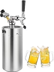 MRbrew 128oz Pressurized Mini Keg Growler Dispenser System, Portable Stainless Steel Homebrew Draft/Craft Beer Carbonation Keg Kit with Detachable Tap Spout & CO2 Regulator Keeps Fresh Under Pressure