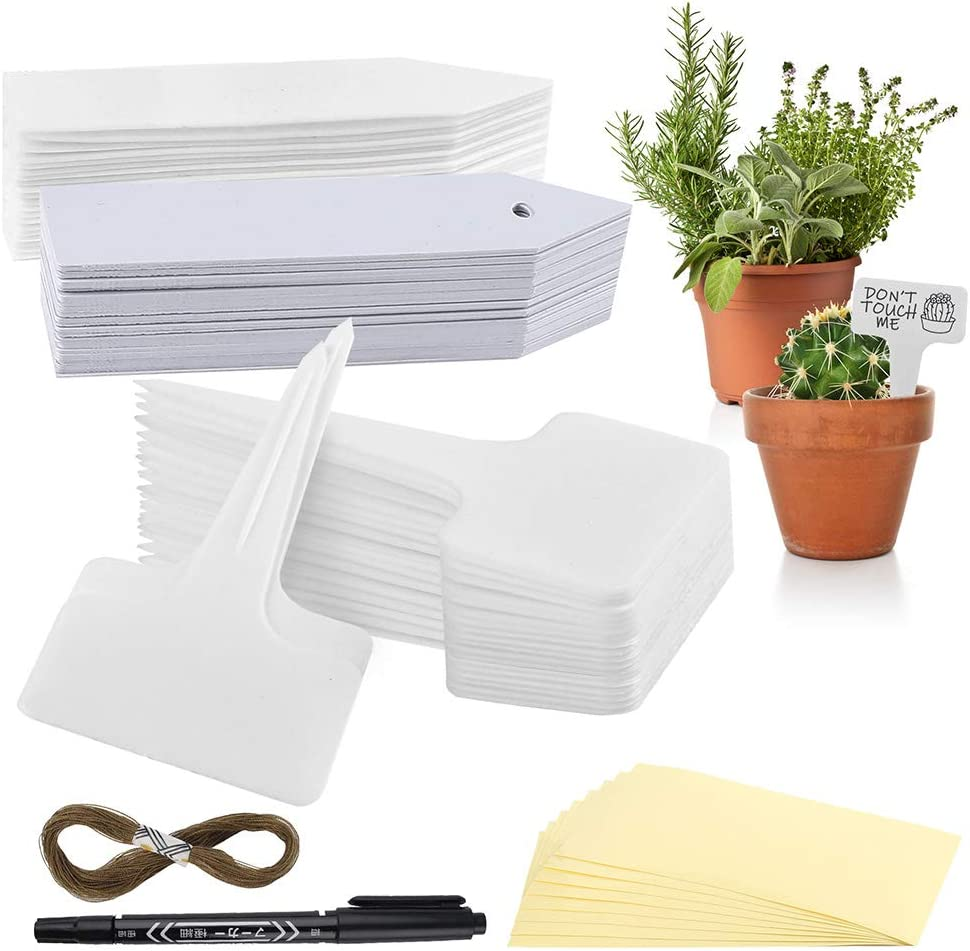 150PC Plant Labels, T-Type Garden Markers, Garden Labels with Hole, Stake Tags with Marker Pen, Waterproof Stickers, Rope - Plastic Plant Identification Tags for Seed Trays Herbs Flowers Pots