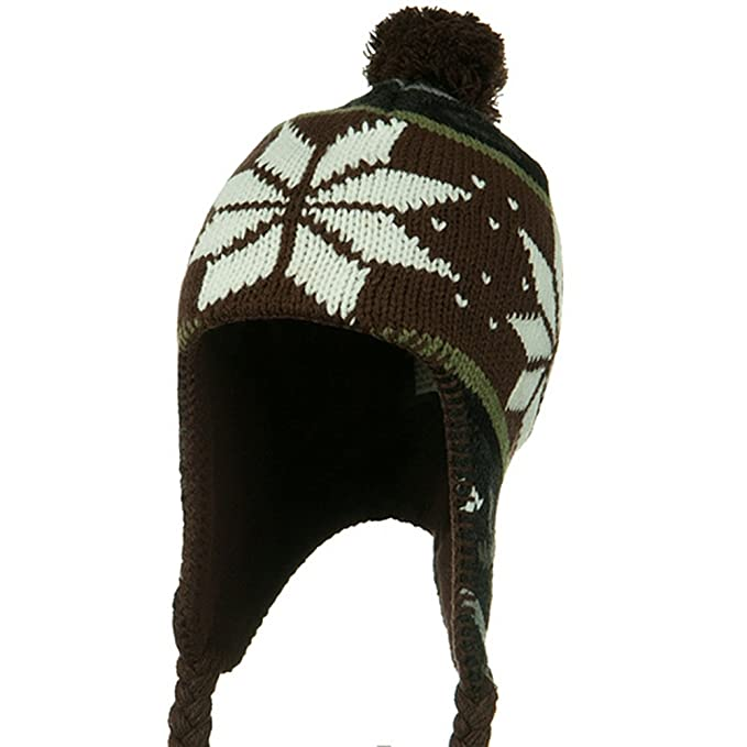 Amazon.com  Artex Junior Snow Flake Peruvian Hat - Brown White  Cold  Weather Hats  Clothing 3b2ed4a4b9b