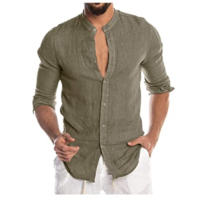 Allywit-Mens Fashion Long-Sleeved Solid Color Cotton LinenButton Down Shirt Business Dress Shirts: Clothing