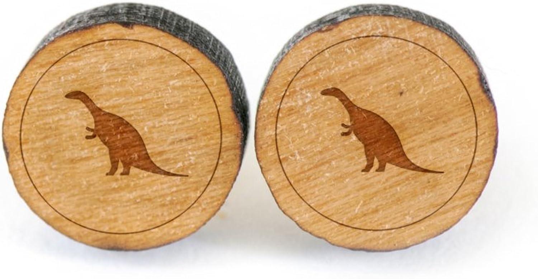 WOODEN ACCESSORIES COMPANY Wooden Stud Earrings With Dinosaur Whale Laser Engraved Design - Premium American Cherry Wood Hiker Earrings - 1 cm Diameter 61R4wWIojNL