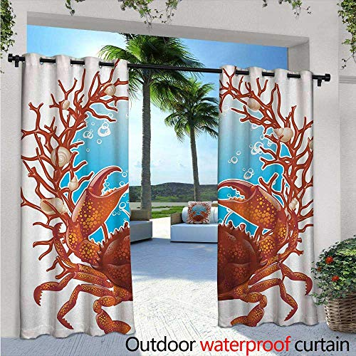BlountDecor Seashells Indoor/Outdoor Single Panel Print Window Curtain W96 x L108 Crab Spiral Seashells and Red Coral Frame Aquarium Claws Nature Silver Grommet Top Drape Dark Orange Burgundy ()