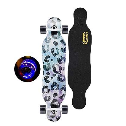monopatín Monopatín para niños de Skateboard para niños con Luces Coloridas Ruedas Intermitentes Scooter de 7