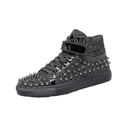 Zapatos de Tablero con tachas de Moda para Hombre Zapatillas Altas y Altas Botines Cortos Ocasionales Discoteca Zapatos de Pasarela: Amazon.es: Zapatos y ...