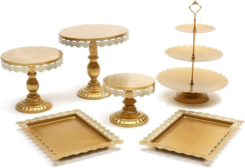 6pcs Cake Stand Set Round Cupcake Holder Wedding Dessert Display Plate W//Crystal