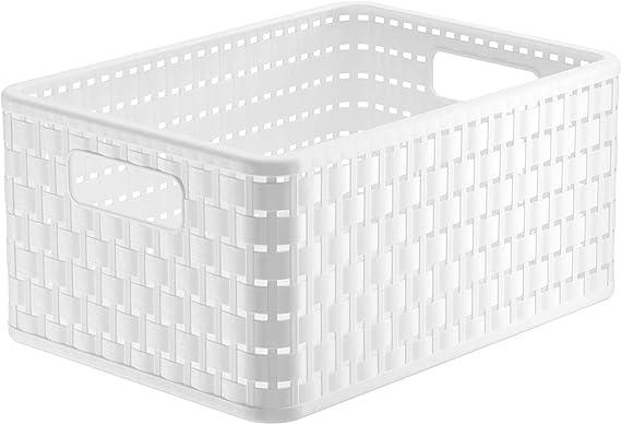 Rotho Country, Caja de almacenamiento 11l en rattan-look, Plástico PP sin BPA, blanco, A5x, 11l 32.8 x 23.8 x 16.0 cm: Amazon.es: Hogar