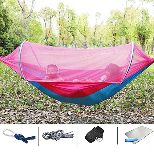 XiaoMiGuoJi Hammock - Durable camping adult double single portable hammock with tree belt, children's hammock, lightweight outdoor sleep swing chair, anti-rollover, anti-mosquito net, suitable for fam