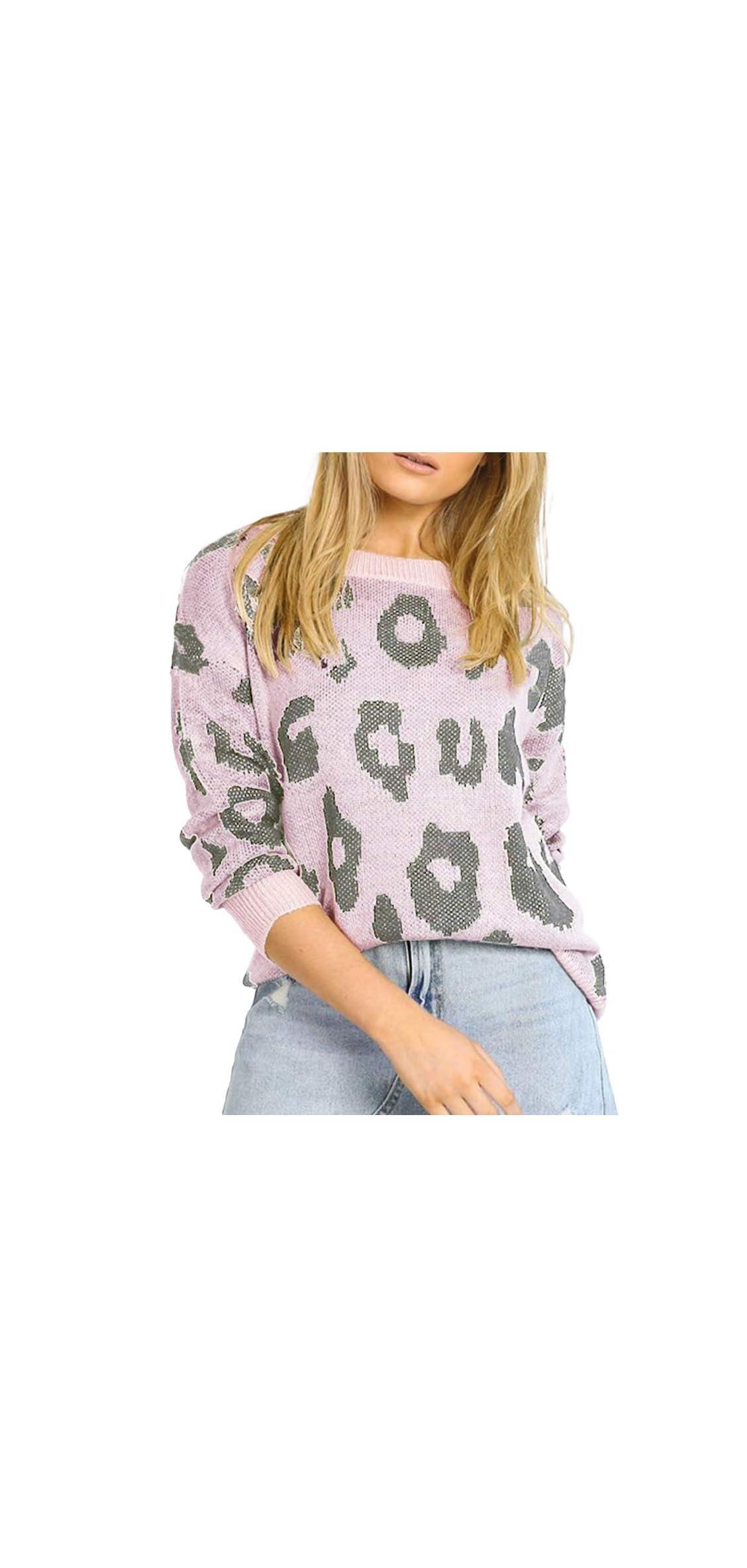Women's Stylish Leopard Pullover Sweater Long Sleeve