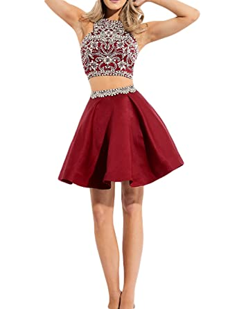 Fnina Womenss 2016 2 Pieces Homecoming Dress Short Prom Gown Size 2 Burgundy
